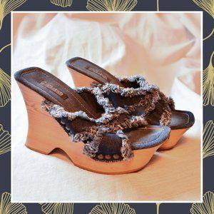 🎆Flash Sale! Vintage Splash Denim Platform Wedges